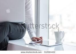 bangkok thailand november 8 2016 business woman hand in white sleeve shirt apple thailand office