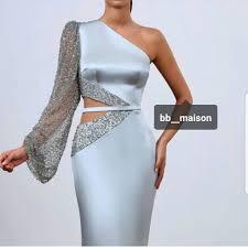 One Shoulder Evening Dresses 2019 <b>Mermaid</b> Beaded Luxury <b>Long</b> ...