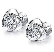 Nikgic 1 Pair Fashion Elegant Silver <b>Heart Shaped Earrings</b> ...