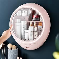 <b>Wall</b>-<b>mounted Makeup</b> Holder Round <b>Cosmetic Storage Box</b> ...