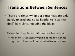 the three transition types transitions between sentences