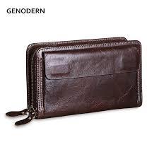 GENODERN Double <b>Zipper Men</b> Wallets with Phone Bag Vintage ...