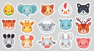 Симпатичные <b>наклейки</b> с животными, улыбающиеся лица ...