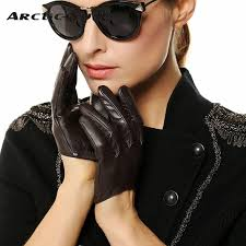 Women <b>Genuine Leather</b> Gloves <b>Ms</b>. Short Paragraph Fashion <b>Half</b> ...