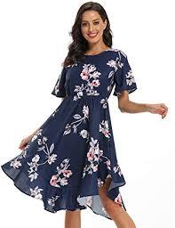 Alaster <b>Women's Chiffon</b> Short Sleeve Casual Midi Dress Irregular ...