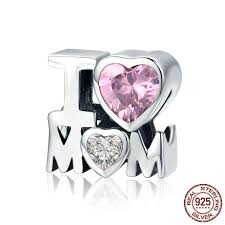 "<b>Jiayiqi</b>® <b>925 Sterling</b> Silver Crystal ""I Love Mom"" Big Hole Charms ..."