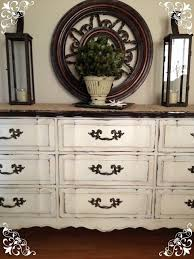 distressed old white chalk paint and clear soft wax on dresser vintage country style antique distressed furniture