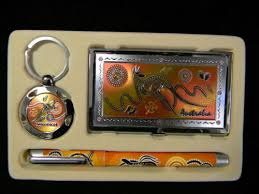 Australian Souvenir <b>Business Gift Box Set</b> Card Holder Pen Keyring ...