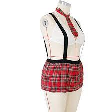 appleLOL Women <b>Plus Size Sexy</b> Underwear Uniform Bra+Tie+Mini ...