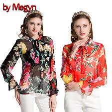 2019 <b>By Megyn</b> Floral Printed <b>Shirts Women</b> Flare Long Sleeve ...
