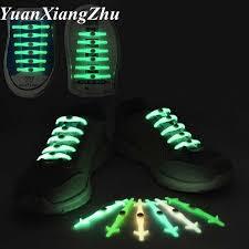 <b>12 pcs/Set Luminous</b> Shoelaces No Tie Silicone Shoelace Light up ...