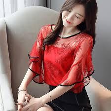 2019 Women'S Blouse <b>Summer Fashion Elegant Lace</b> Stitching ...