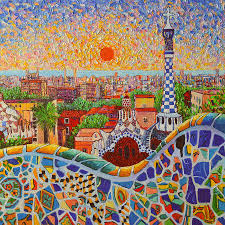 art print barcelona gaudi watercolor ana maria edulescu barcelona sunrise light view from park guell of gau