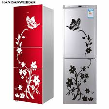 <b>1pc</b> Black <b>Flower Creative Butterfly</b> Wall Stickers Refrigerator ...