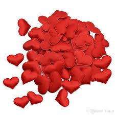 <b>100Pcs</b> 3.5cm <b>Romantic Heart Sponge</b> Satin Fabric <b>Heart</b> Petals ...