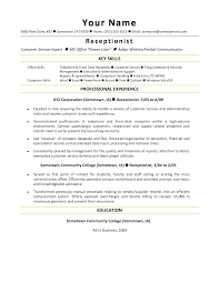 sample resume templates for receptionist resume sample information sample resume sample template for receptionist resume professional experience sample resume templates for