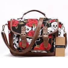 <b>Vintage Women</b> Satchel Bag Skull Print <b>Shoulder Bag</b> High Quality ...