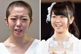 Minami Minegishi, a member of all girl pop group AKB48 with her hair cut off Before and after: Minami Minegishi shaved off her long her in penance - Minami%2520Minegishi-1569213