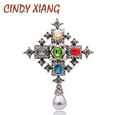 CINDY XIANG Unisex <b>Crystal Cross</b> Brooches for Women <b>Vintage</b> ...