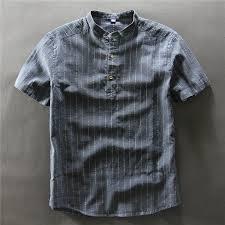 <b>2017 short sleeve</b> striped shirt men mandarin collar <b>cotton</b> linen shirt ...
