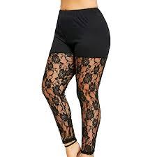Juesi Plus Size Skinny Leggings, <b>Women's</b> High Waist <b>Lace Yoga</b> ...