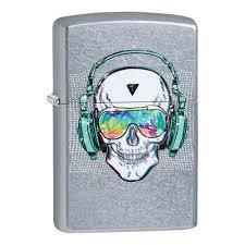 <b>Зажигалка ZIPPO Skull Headphone</b> с покрытием Street Chrome ...