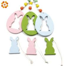 <b>Easter Decor 6 pcs Set</b> Pretty Egg and Rabbit Wooden Pendants ...