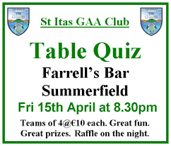 st itas table quiz st itas gaa club website st itas gaa club table quiz farrells bar summerfield youghal 2016