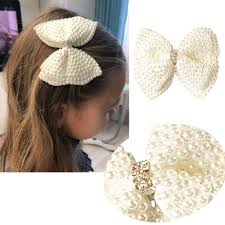 White <b>Pearl</b> Hair Bows With Hair Clips For Girls Kids Boutique ...