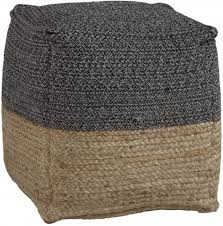 Sweed Valley Natural and <b>Black Pouf</b> from Ashley | Coleman Furniture