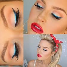 this modern pin up makeup tutorial video by shaaanxo is so playful fun plete with blue ombre eyeliner super glossy red lips