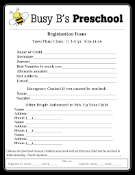 sunday school registration form biz card sunday busy b s preschool registration form