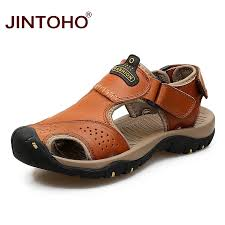 <b>Male</b> Sandals Luxury <b>Men Genuine Leather</b> Sandals Summer ...