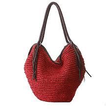 Red <b>Women</b> Straw Shoulder Bag Summer <b>Beach</b> Bag <b>Tassels</b> Tote ...
