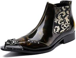 DANYCU Men's Trend Martin Boots Patent Leather ... - Amazon.com