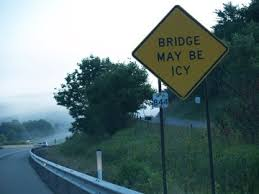 Image result for highway sign bridge freezes first picture