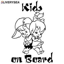 <b>SLIVERYSEA</b> 12.7*19CM KIDS ON BOARD Cute Cartoon Warning ...