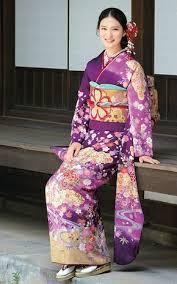 Nice <b>Japanese</b> traditional kimono in purple, <b>light yellow</b> and red ...