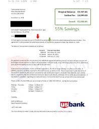 debt settlement letters us bank 55 savings
