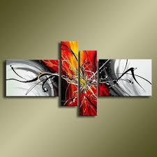 <b>Hand Painted Abstract Oil</b> Paintings On Canvas Red Black White ...