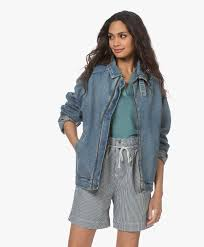 American <b>Vintage</b> Busborow <b>Denim Bomber</b> Jacket - Blue Dirty ...
