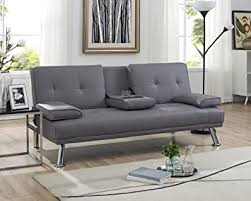 Naomi Home Futon <b>Sofa Bed with Armrest</b> Gray: Amazon.ca: Home ...