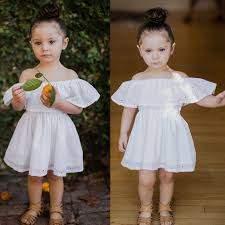 Toddler <b>Kids</b> Baby Off Shoulder tunic <b>dress</b> white <b>summer kids girl</b> ...