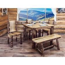 pine dining room side chair rustic pine  post log kitchen table with side chairs and plank style b