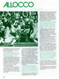 athletic career articles frank allocco sr article on qb allocco in notre dame miami game program 1974