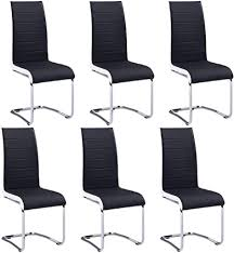 Set of 6 Cantilever Dining Chairs <b>Modern Artificial Leather</b> Grey ...