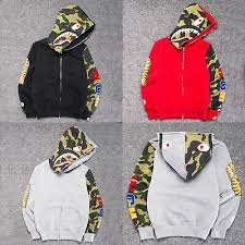 Men Women's <b>Bape</b> Camo <b>Shark Hoodie</b> Full Zip Sweater Coat ...