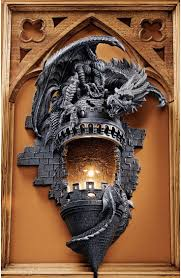gothic dragon furniture sculpted dragon perched on medieval castle turret dramatic decor wall awesome medieval bedroom furniture 50