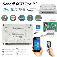 Home, Furniture & DIY <b>Sonoff</b> 4CH <b>Wireless</b> Remote Smart Switch <b>4</b> ...