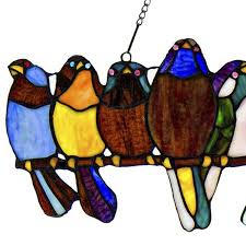 River of Goods Wire Window Panel Multi <b>Stained Glass Birds</b> Art ...